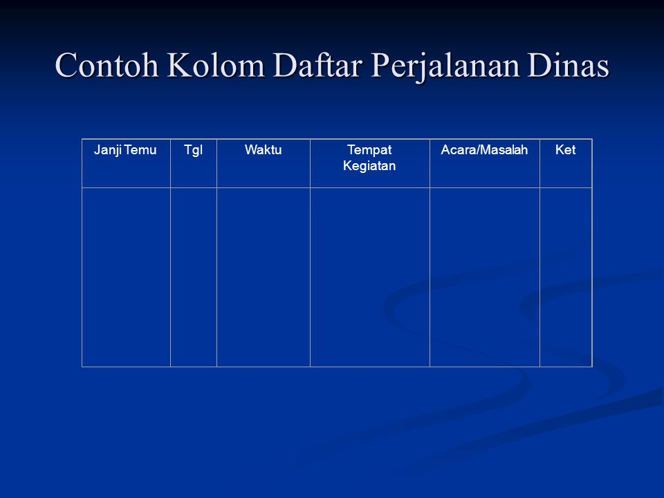 Contoh Kolom Daftar Perjalanan Dinas