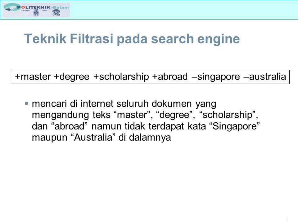 Teknik Filtrasi pada search engine