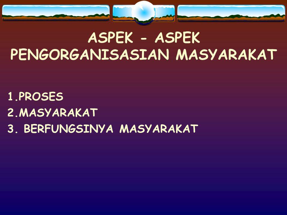 ASPEK - ASPEK PENGORGANISASIAN MASYARAKAT
