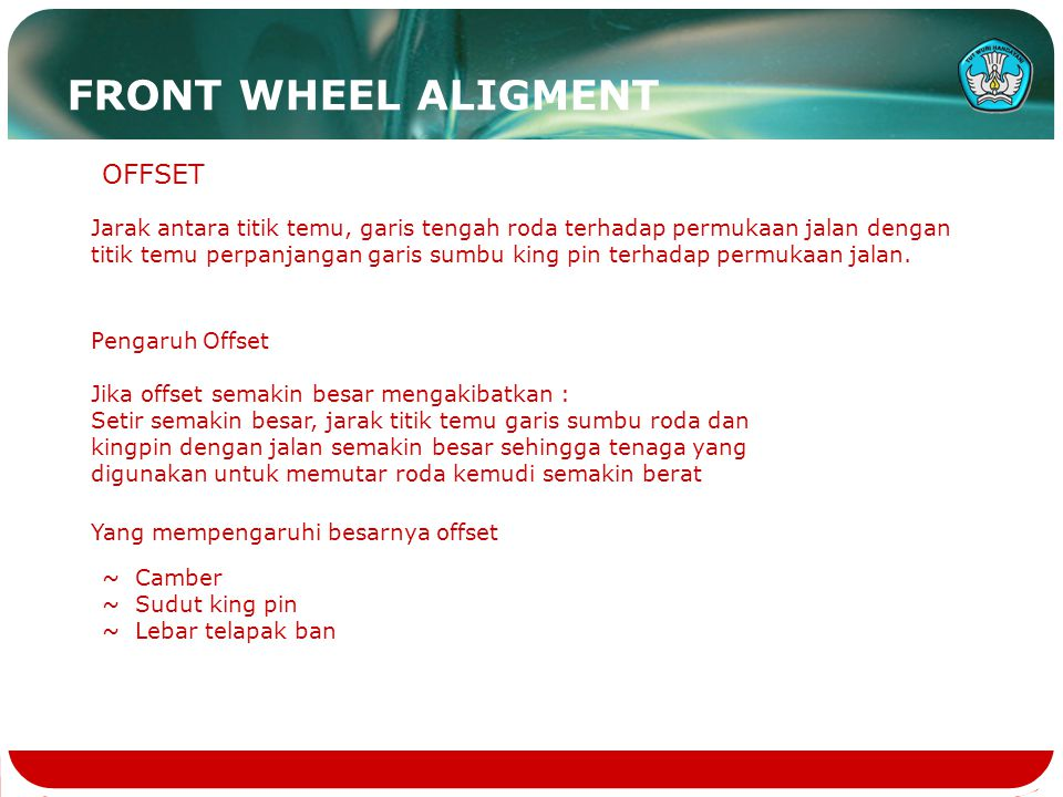 FRONT WHEEL ALIGMENT OFFSET