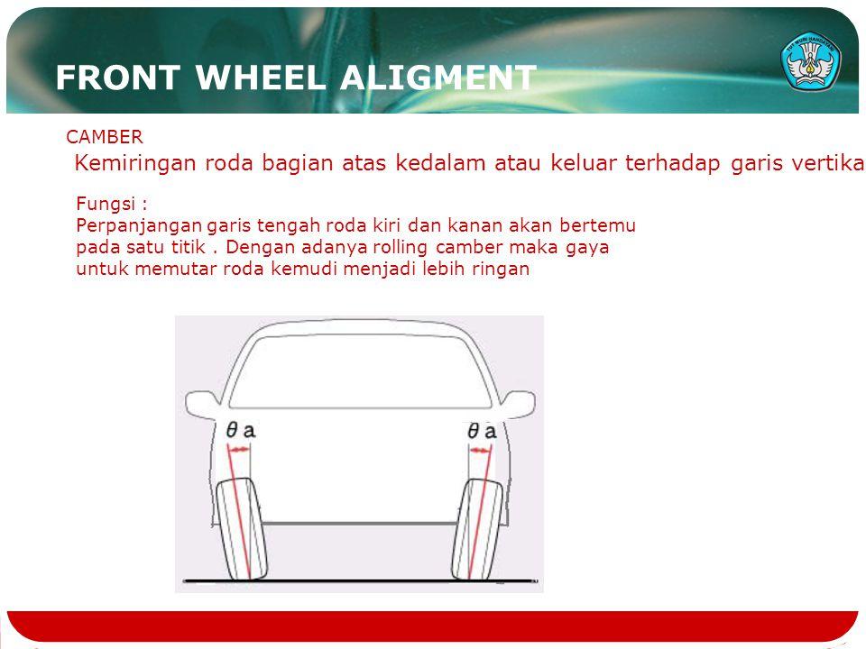 FRONT WHEEL ALIGMENT CAMBER. Kemiringan roda bagian atas kedalam atau keluar terhadap garis vertikal.