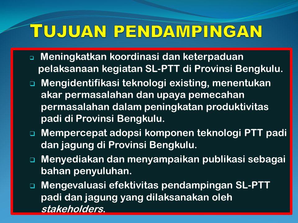 TUJUAN PENDAMPINGAN Meningkatkan koordinasi dan keterpaduan pelaksanaan kegiatan SL-PTT di Provinsi Bengkulu.