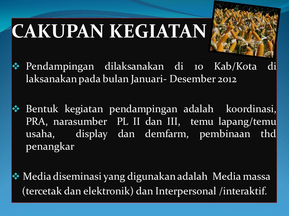 CAKUPAN KEGIATAN Pendampingan dilaksanakan di 10 Kab/Kota di laksanakan pada bulan Januari- Desember 2012.