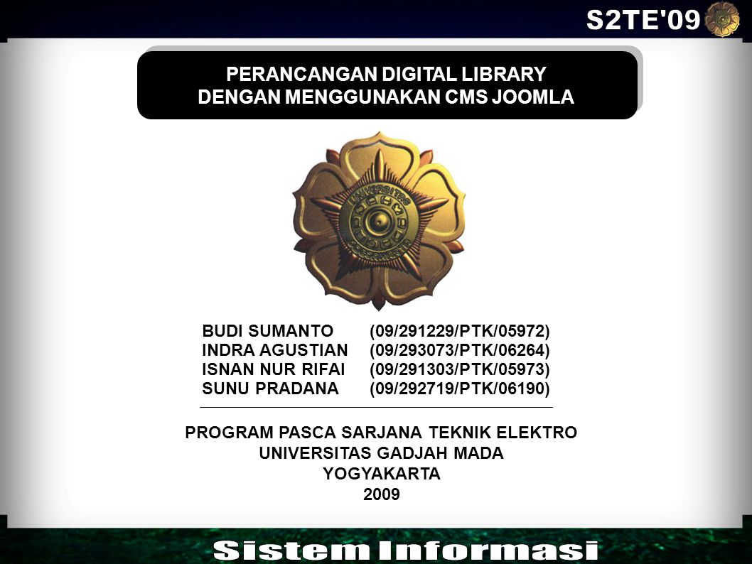 S2TE 09 Sistem Informasi PERANCANGAN DIGITAL LIBRARY