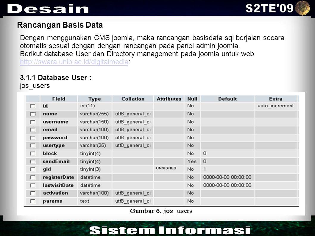 S2TE 09 Desain Sistem Informasi Rancangan Basis Data