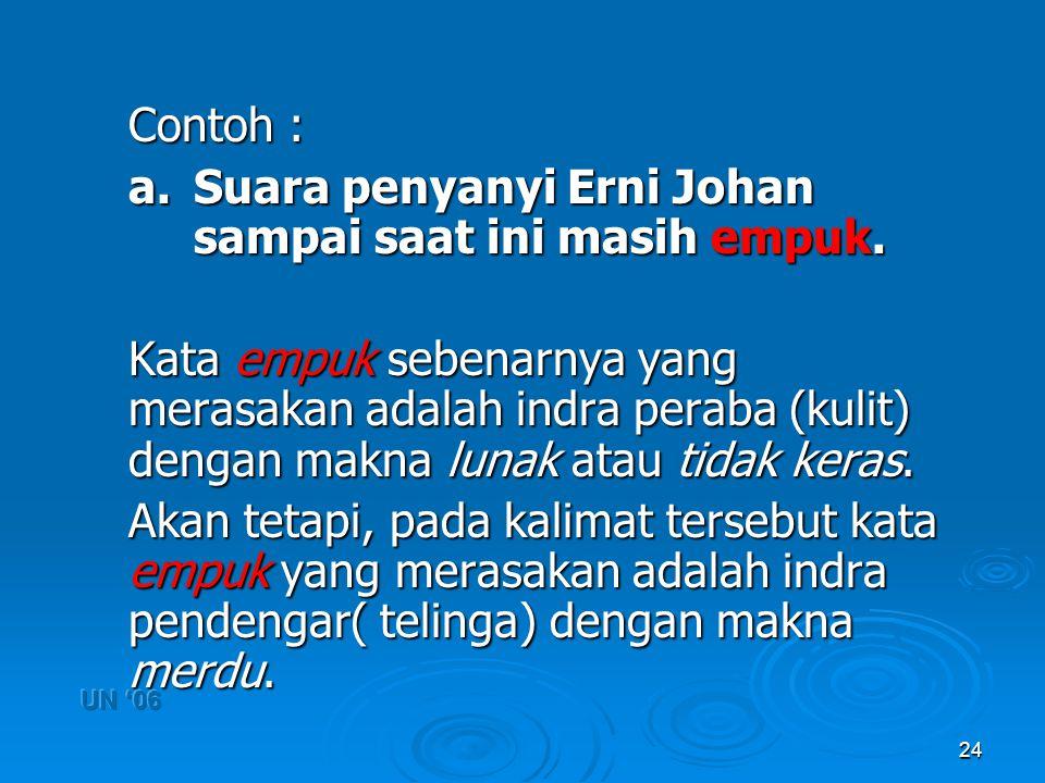 a. Suara penyanyi Erni Johan sampai saat ini masih empuk.