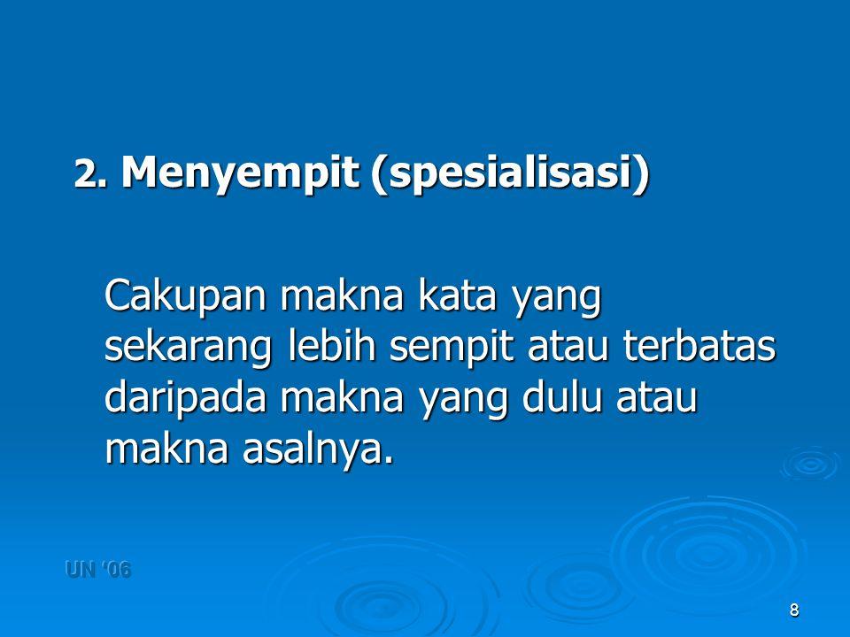 2. Menyempit (spesialisasi)