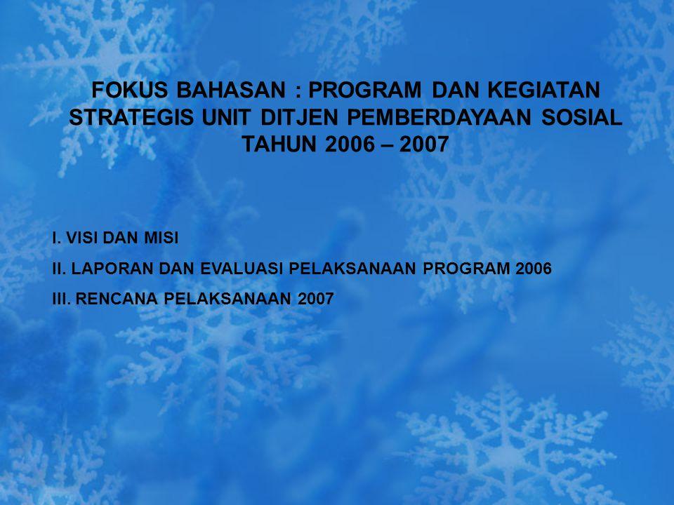 FOKUS BAHASAN : PROGRAM DAN KEGIATAN STRATEGIS UNIT DITJEN PEMBERDAYAAN SOSIAL TAHUN 2006 – 2007