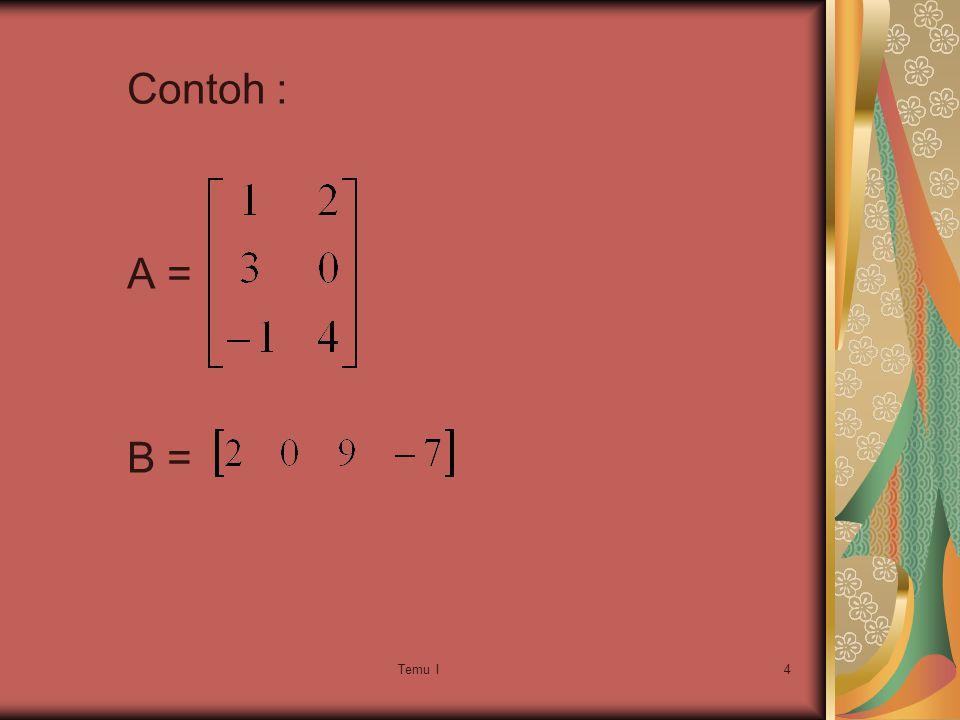 Contoh : A = B = Temu I