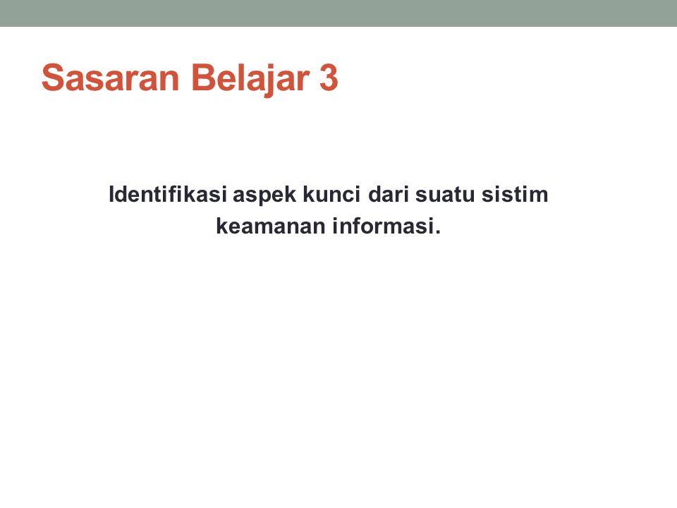 Identifikasi aspek kunci dari suatu sistim keamanan informasi.