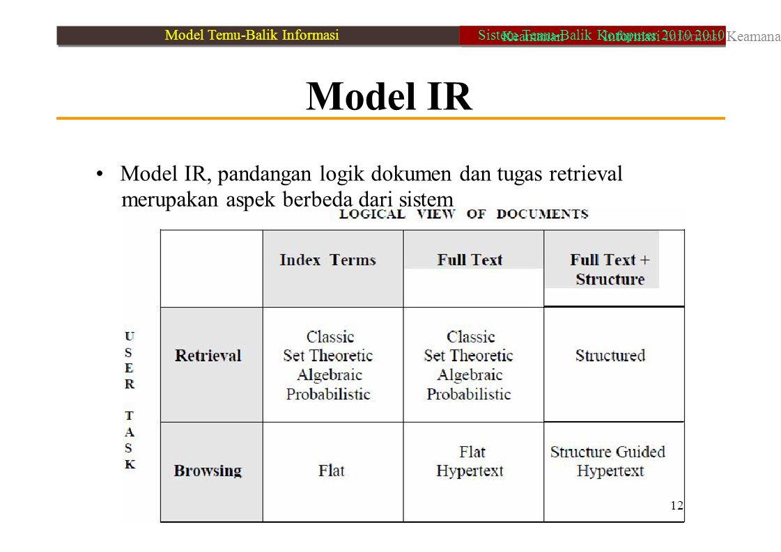 • Model IR, pandangan logik dokumen dan tugas retrieval