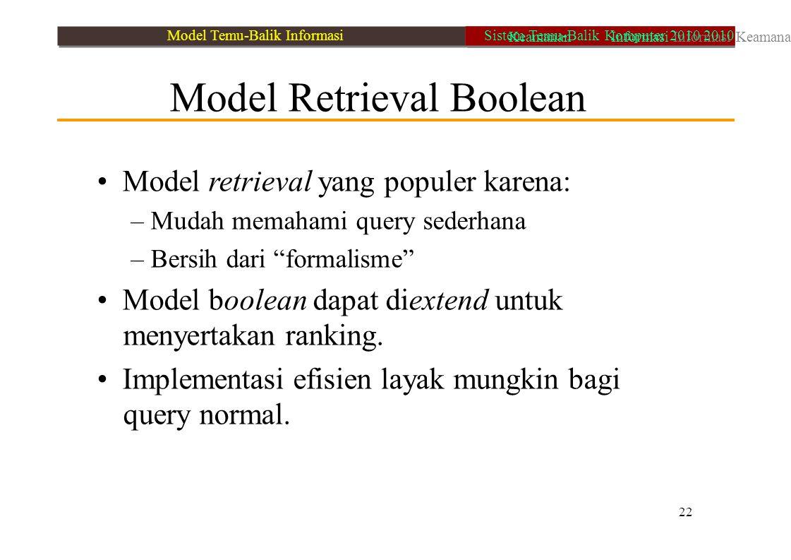 • Model retrieval yang populer karena: