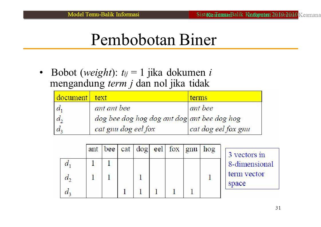 • Bobot (weight): tij = 1 jika dokumen i