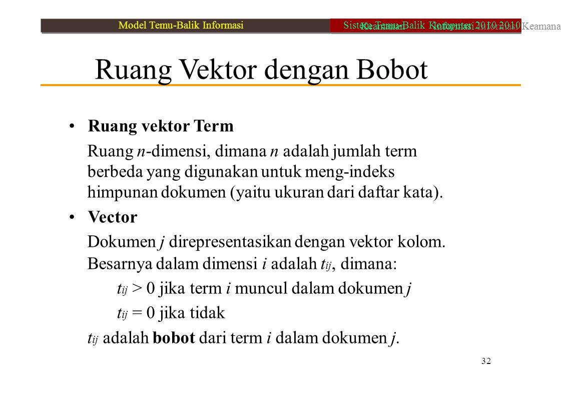• Ruang vektor Term • Vector Ruang Vektor dengan Bobot