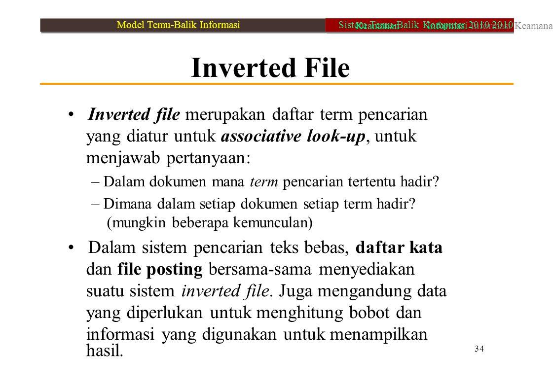 • Inverted file merupakan daftar term pencarian