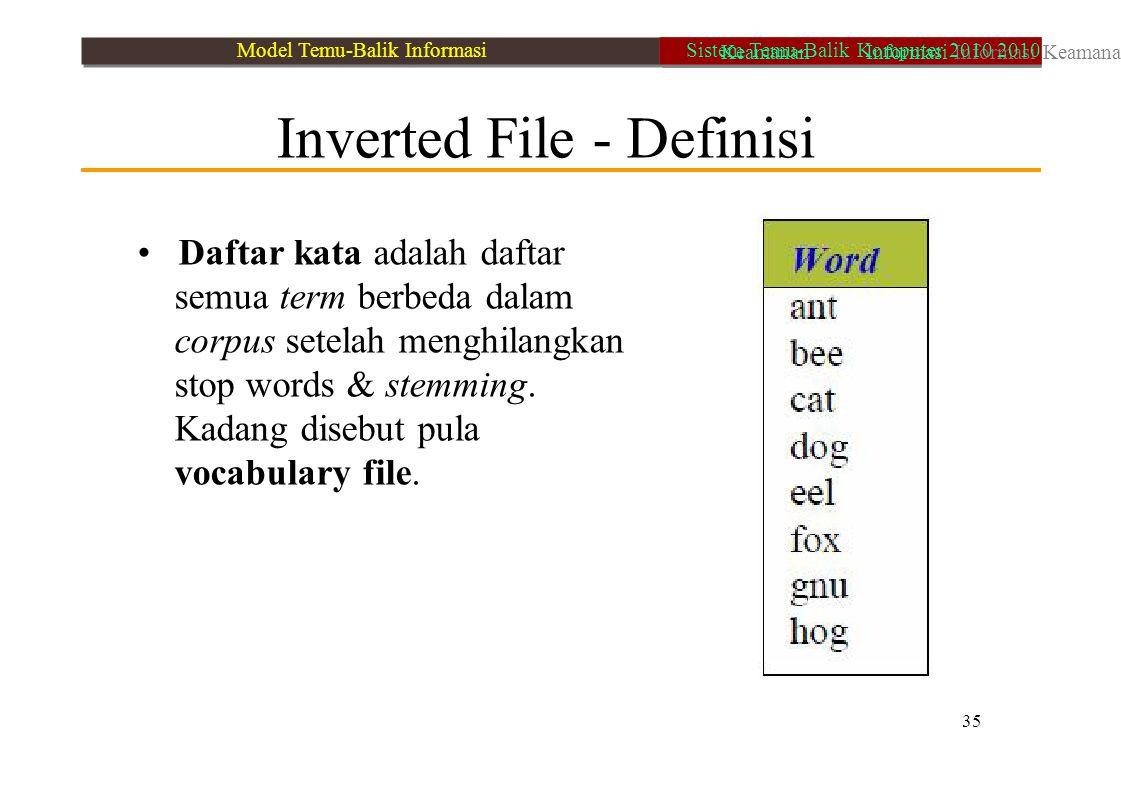 • Daftar kata adalah daftar