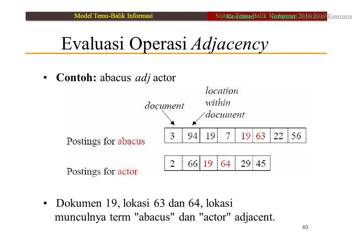 • Contoh: abacus adj actor