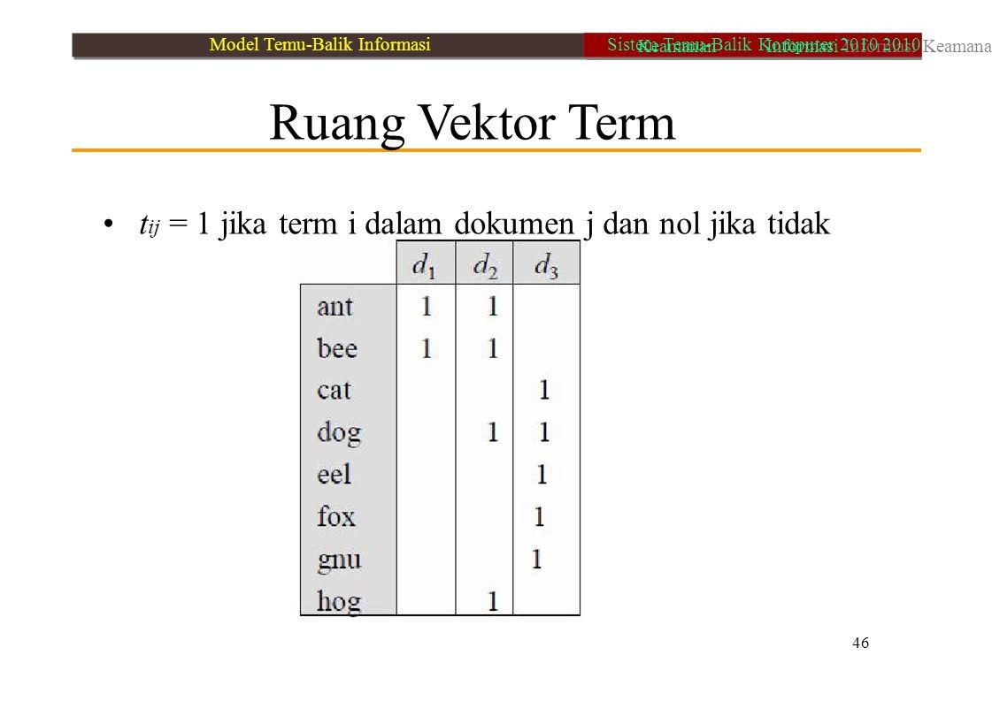 • tij = 1 jika term i dalam dokumen j dan nol jika tidak