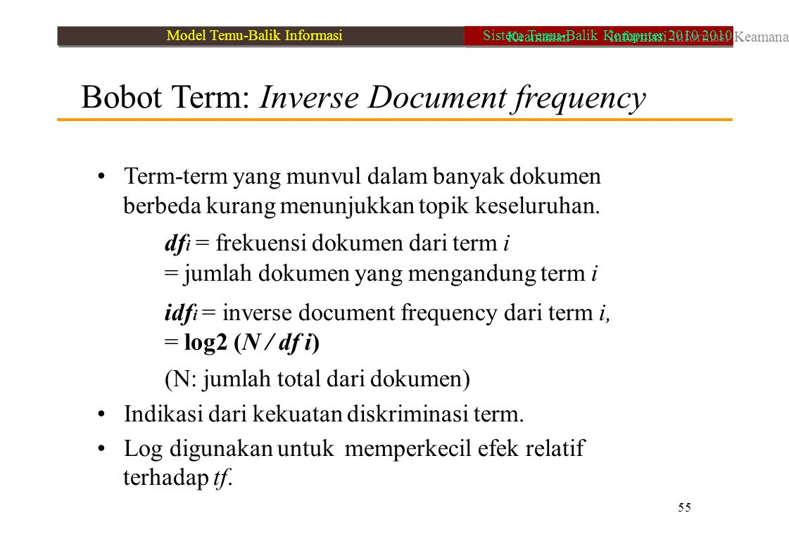 Bobot Term: Inverse Document frequency