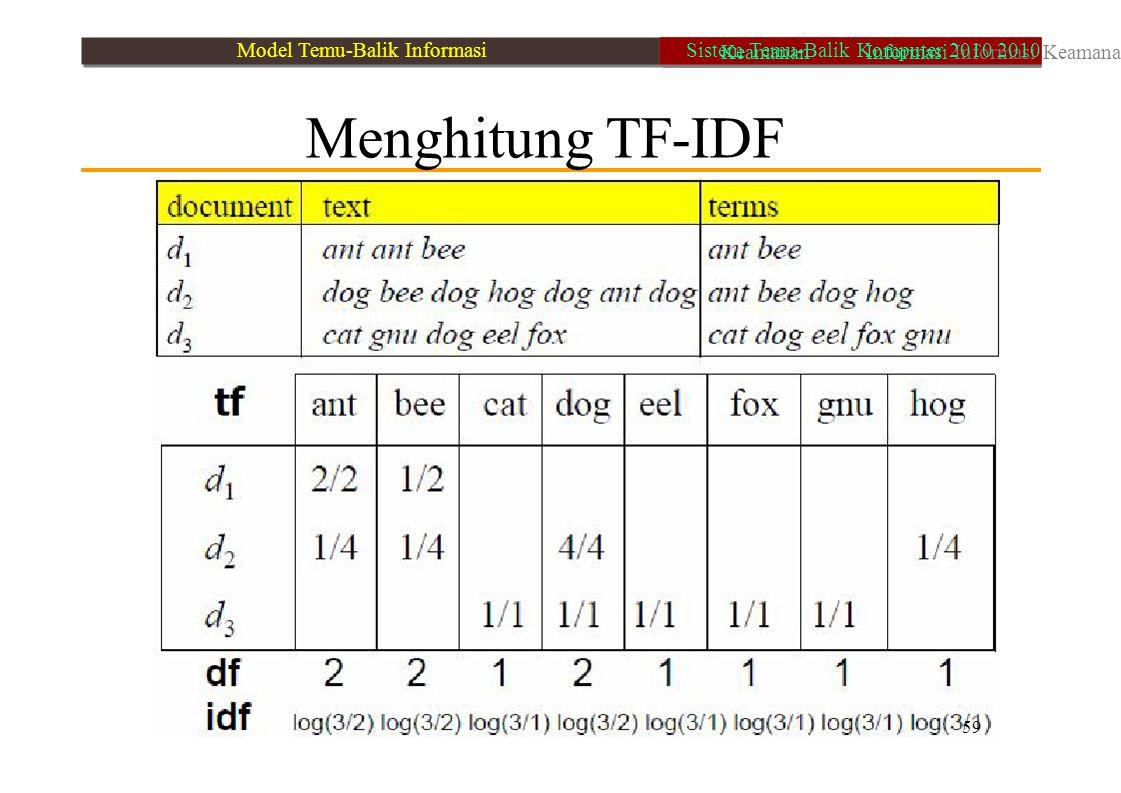 Menghitung TF-IDF 59 Model Temu-Balik Informasi