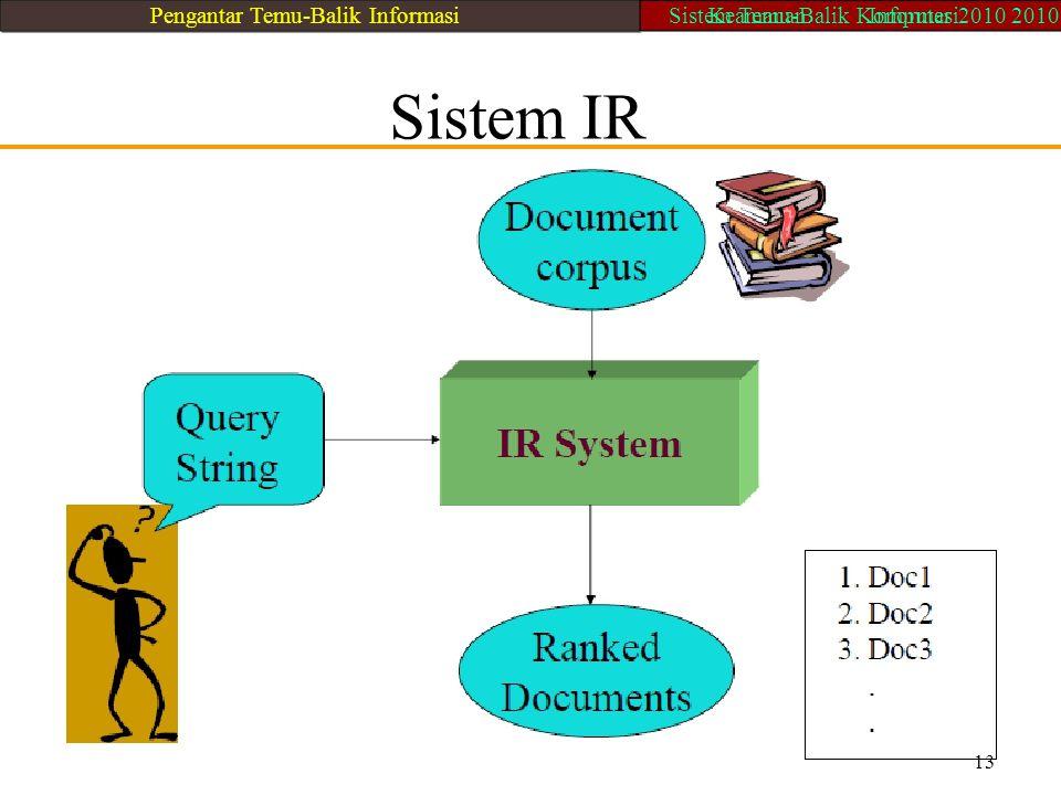Sistem IR 13 Pengantar Temu-Balik Informasi