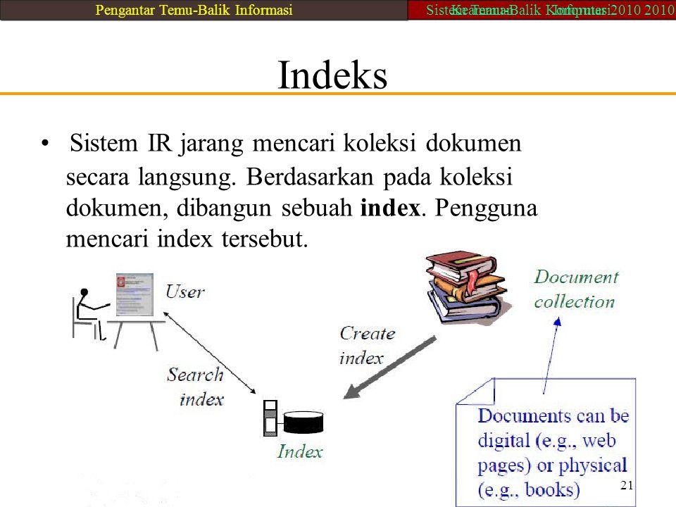 • Sistem IR jarang mencari koleksi dokumen
