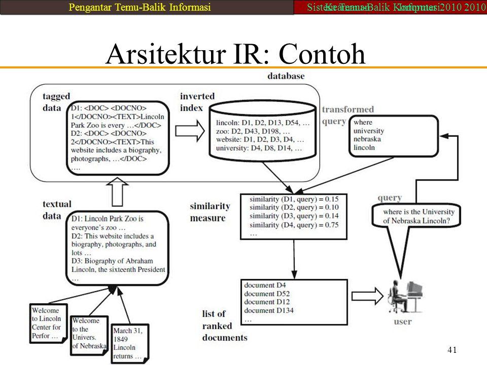 Arsitektur IR: Contoh 41 Pengantar Temu-Balik Informasi