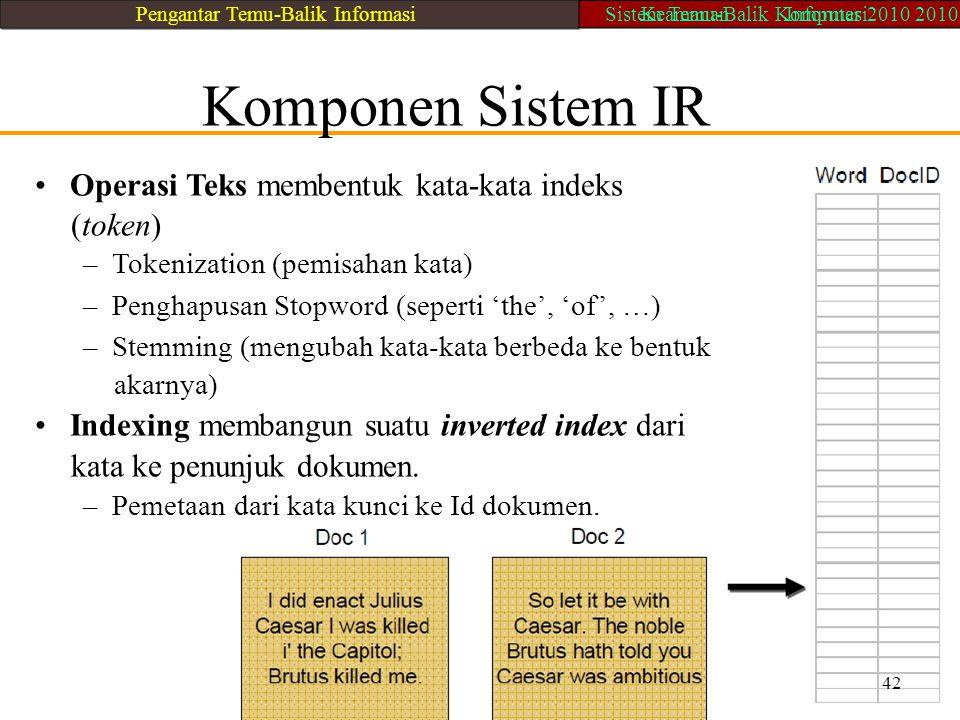 • Operasi Teks membentuk kata-kata indeks