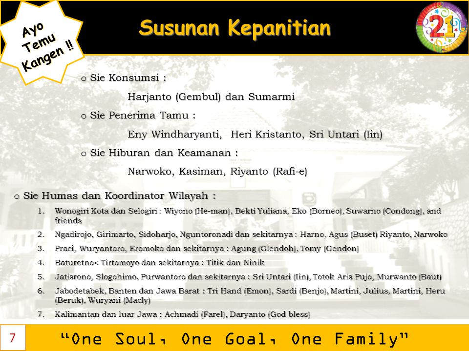 One Soul, One Goal, One Family