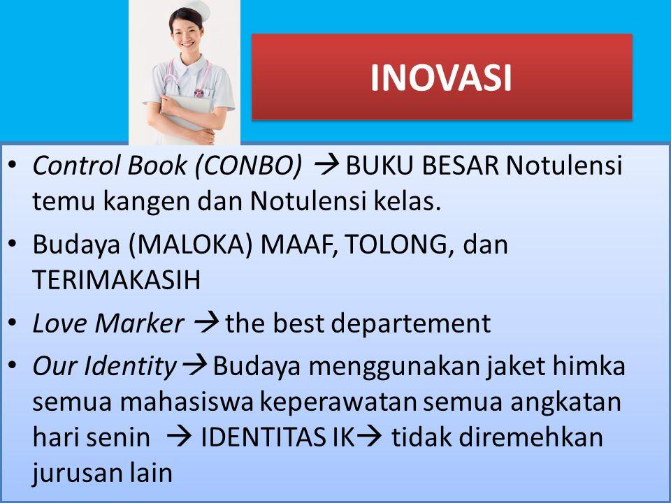 INOVASI Control Book (CONBO)  BUKU BESAR Notulensi temu kangen dan Notulensi kelas. Budaya (MALOKA) MAAF, TOLONG, dan TERIMAKASIH.