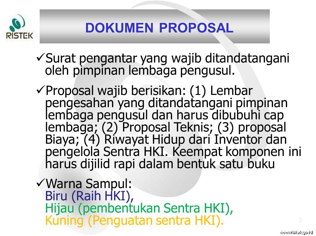 DOKUMEN PROPOSAL Surat pengantar yang wajib ditandatangani oleh pimpinan lembaga pengusul.