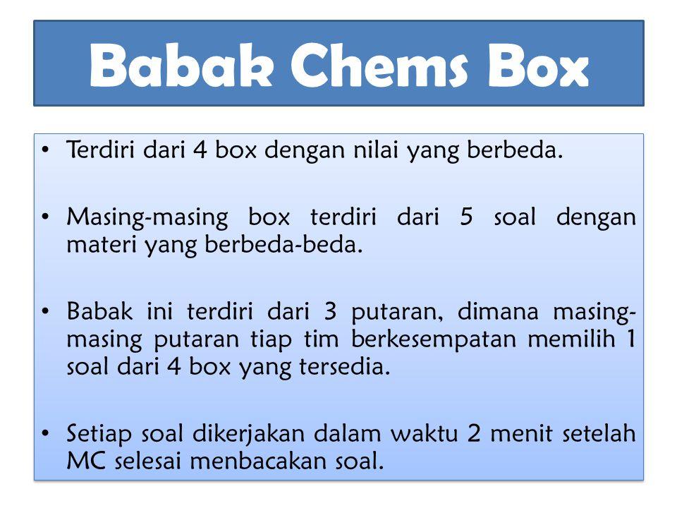 Babak Chems Box Terdiri dari 4 box dengan nilai yang berbeda.
