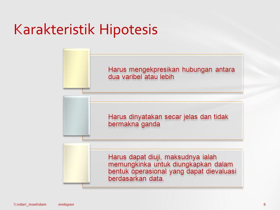 Karakteristik Hipotesis