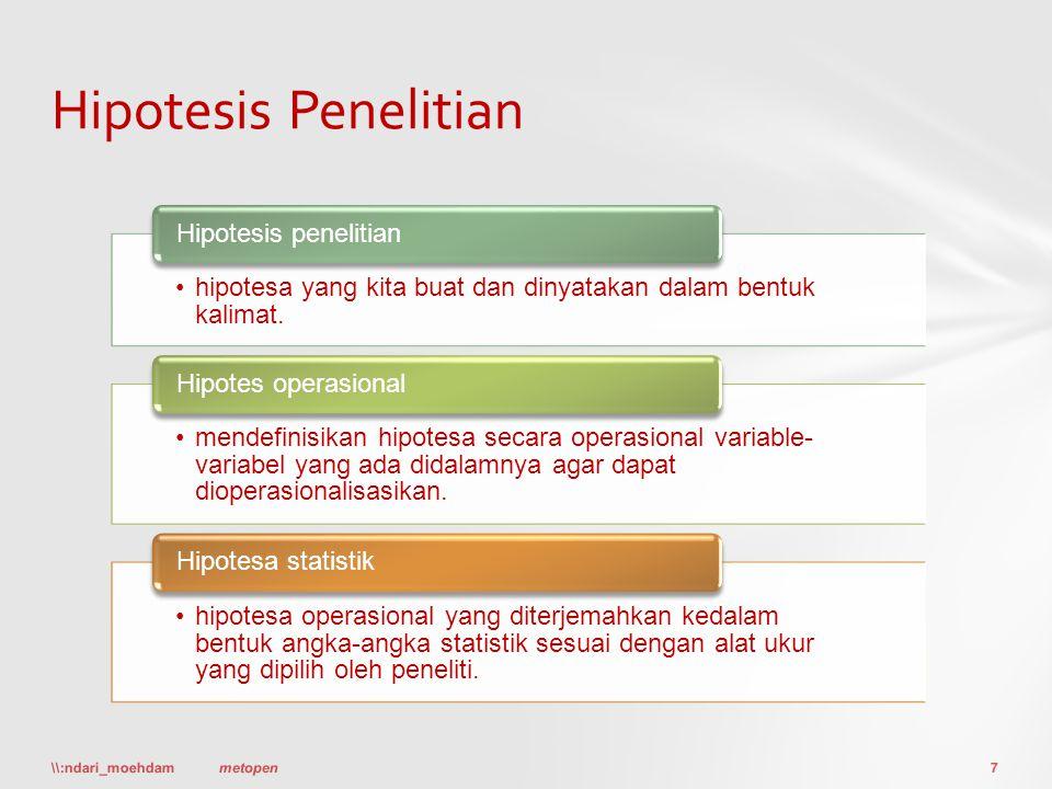 Hipotesis Penelitian Hipotesis penelitian