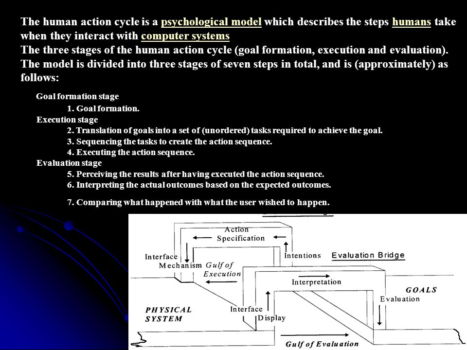 The human action cycle is a psychological model which describes the steps humans take when they interact with computer systems