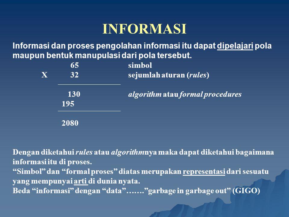 INFORMASI Informasi dan proses pengolahan informasi itu dapat dipelajari pola maupun bentuk manupulasi dari pola tersebut.
