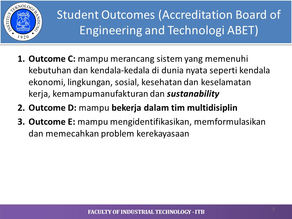 Student Outcomes (Accreditation Board of Engineering and Technologi ABET)
