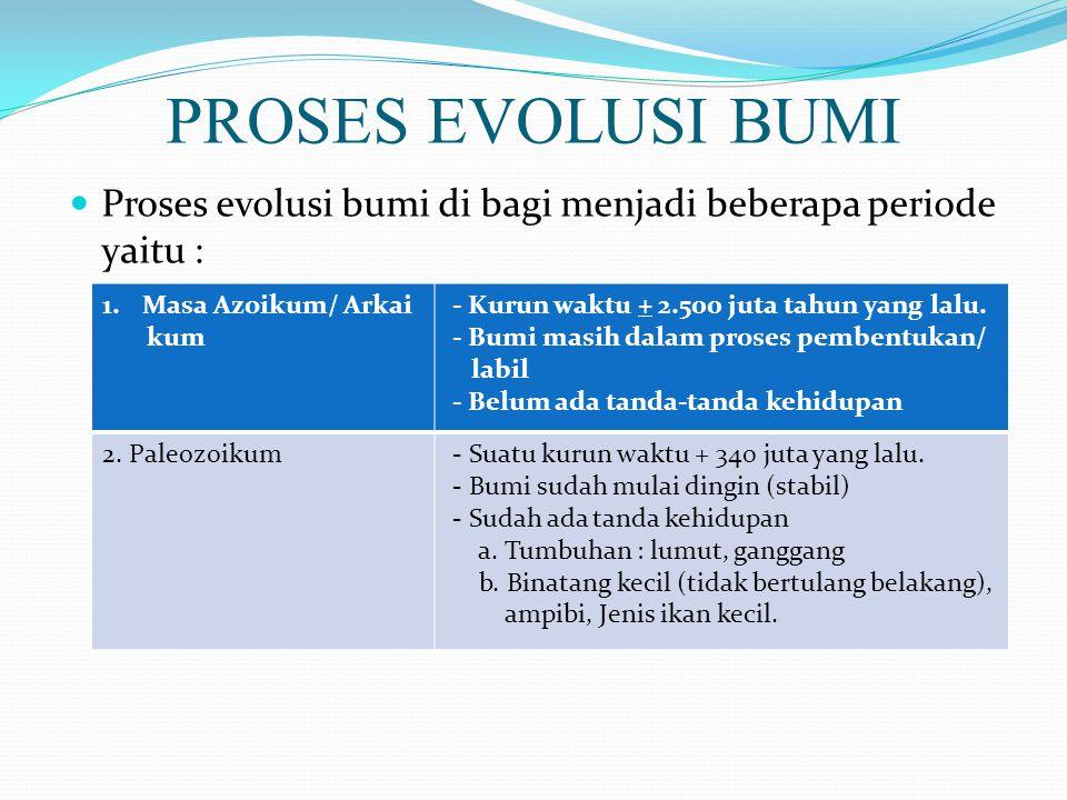 PROSES EVOLUSI BUMI Proses evolusi bumi di bagi menjadi beberapa periode yaitu : Masa Azoikum/ Arkai.