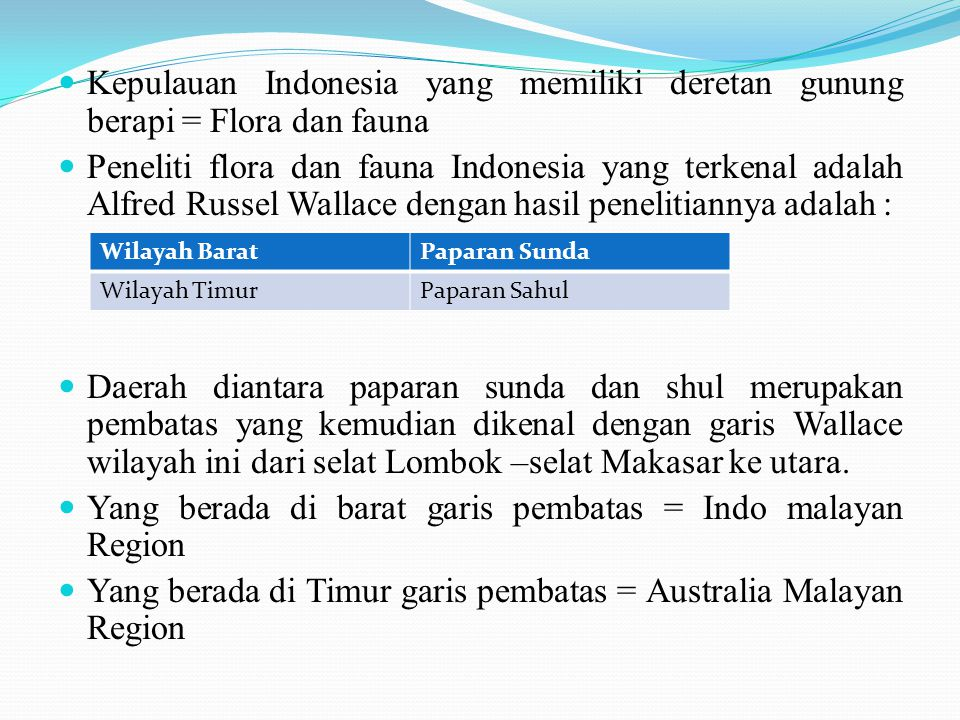 Yang berada di barat garis pembatas = Indo malayan Region