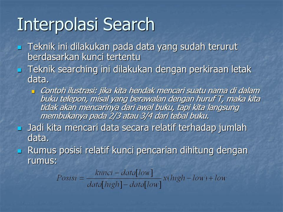 Interpolasi Search Teknik ini dilakukan pada data yang sudah terurut berdasarkan kunci tertentu.