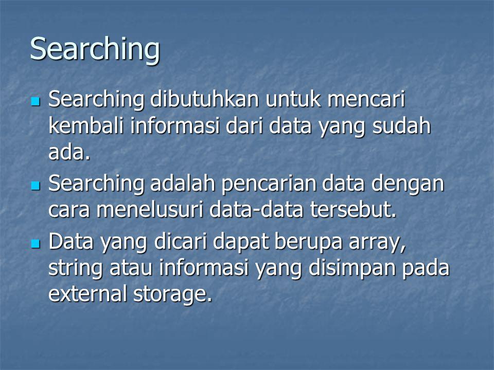 Searching Searching dibutuhkan untuk mencari kembali informasi dari data yang sudah ada.
