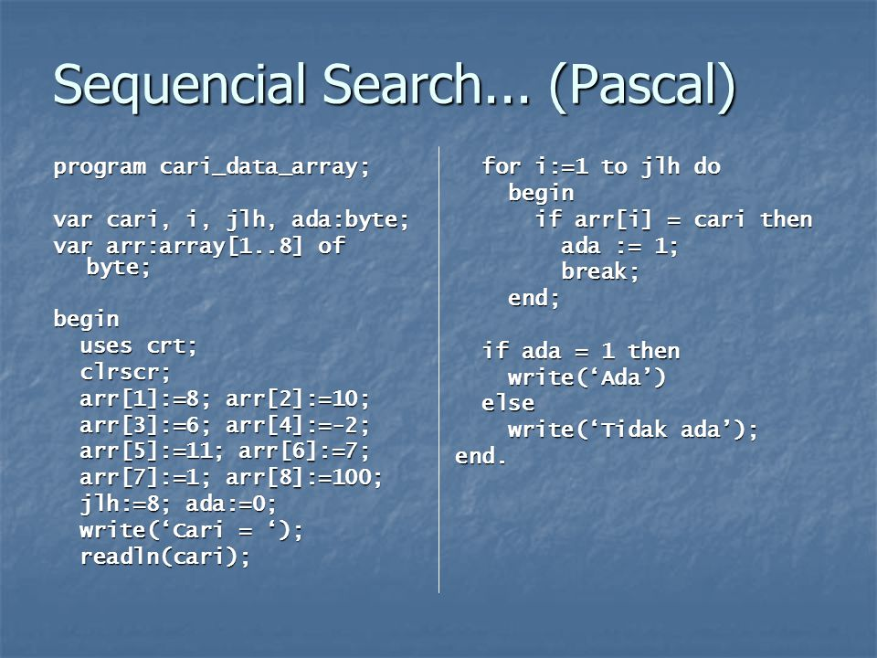Sequencial Search... (Pascal)