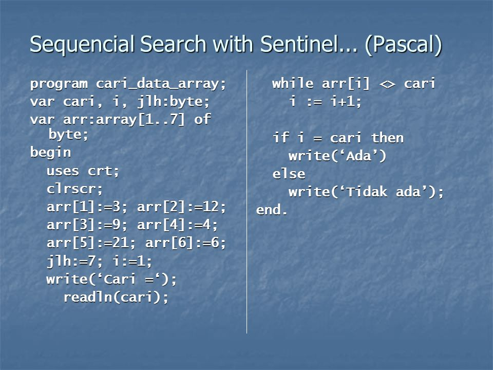 Sequencial Search with Sentinel... (Pascal)