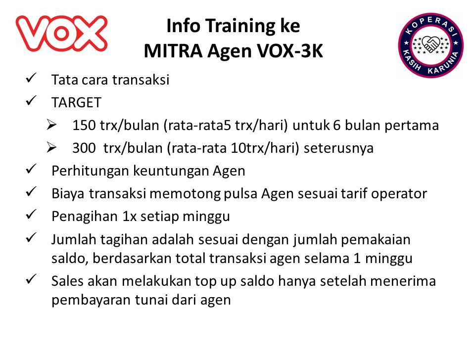 Info Training ke MITRA Agen VOX-3K