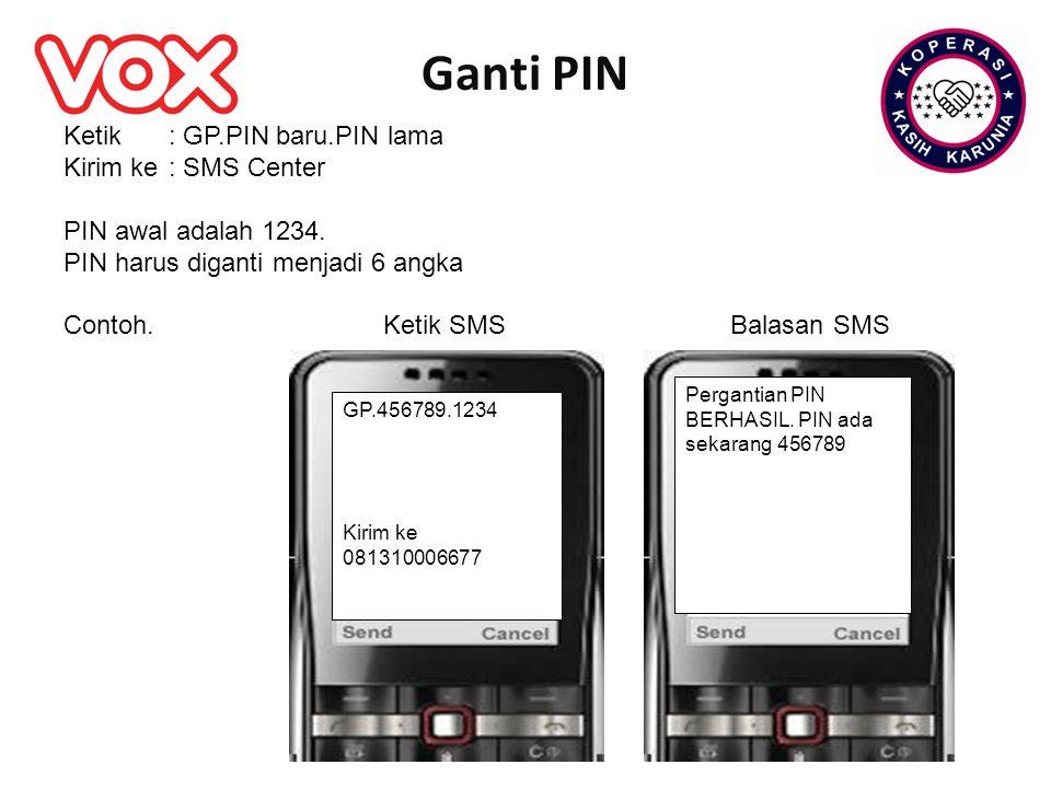 Ganti PIN Ketik : GP.PIN baru.PIN lama Kirim ke : SMS Center
