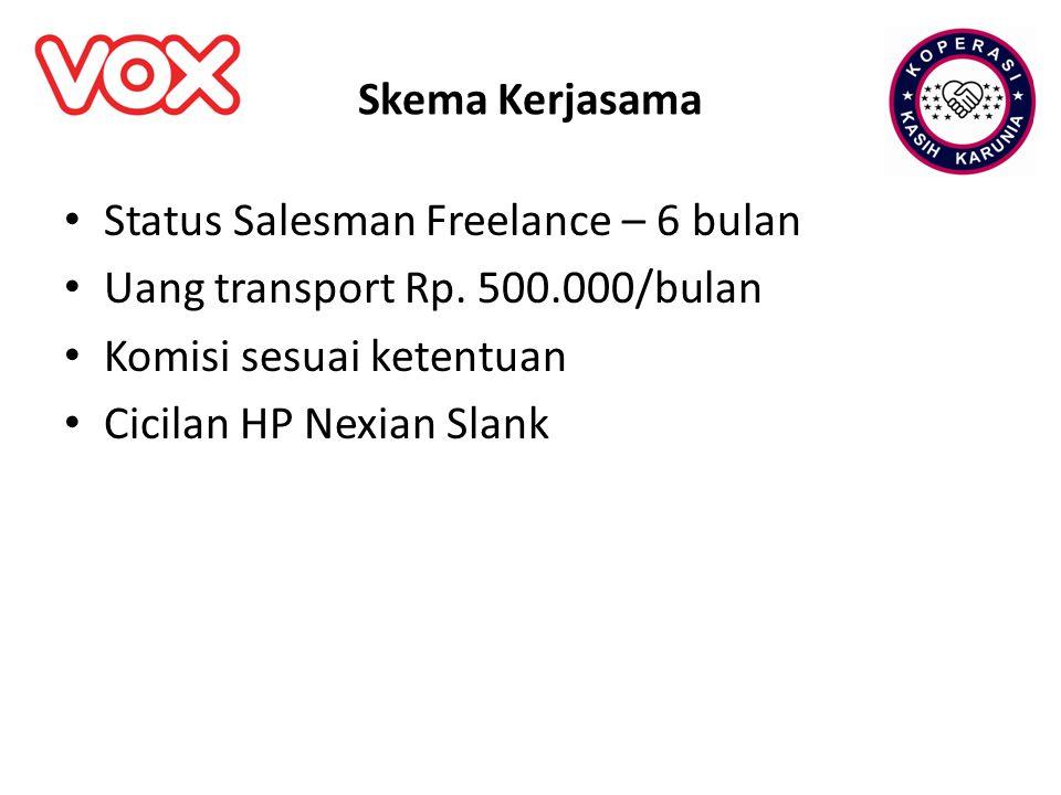 Skema Kerjasama Status Salesman Freelance – 6 bulan. Uang transport Rp. 500.000/bulan. Komisi sesuai ketentuan.