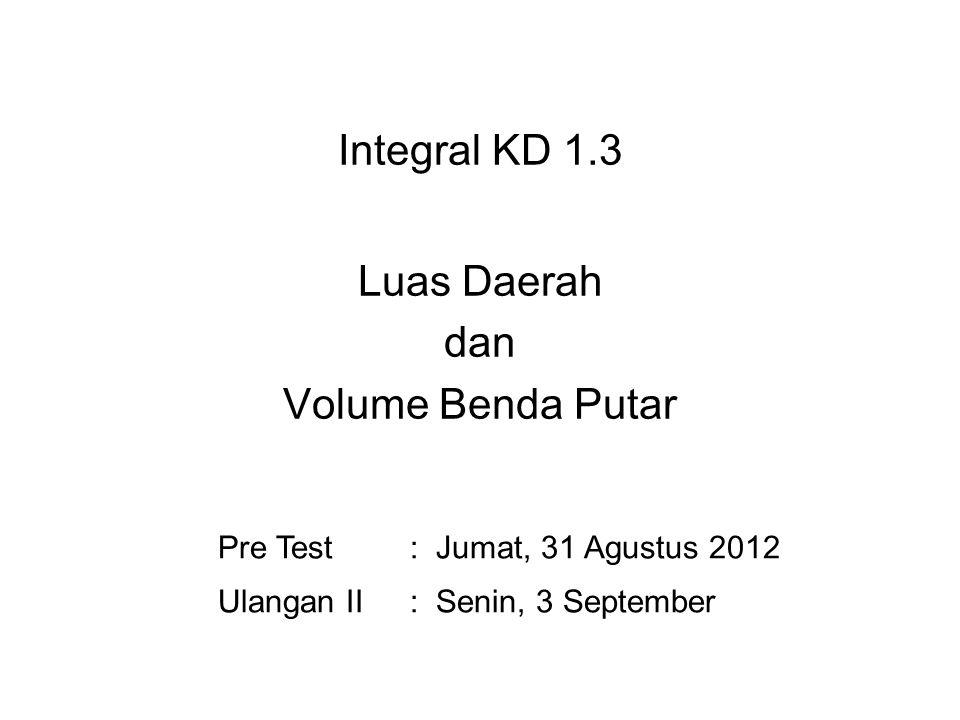 Integral KD 1.3 Luas Daerah dan Volume Benda Putar
