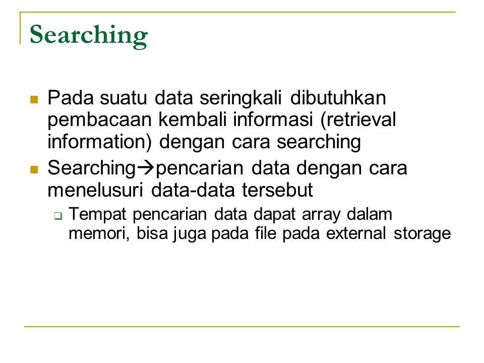 Searching Pada suatu data seringkali dibutuhkan pembacaan kembali informasi (retrieval information) dengan cara searching.