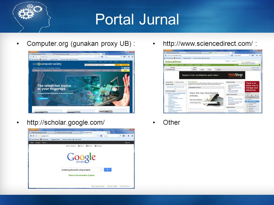 Portal Jurnal Computer.org (gunakan proxy UB) :