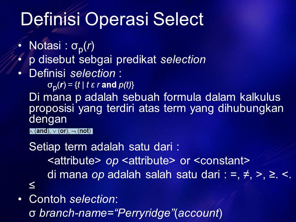 Definisi Operasi Select